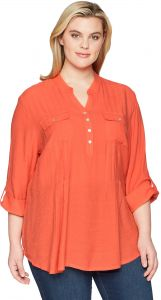 4858f213a0a9a0 Ruby Rd.. Women's Plus Size Silky Gauze Pleated Top with Button-Front,  Tomato, 1X