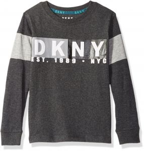 81f8dca05 DKNY Little Boys' Long Sleeve Slub Jersey Crew Neck T-Shirt, Dark Heather, 5