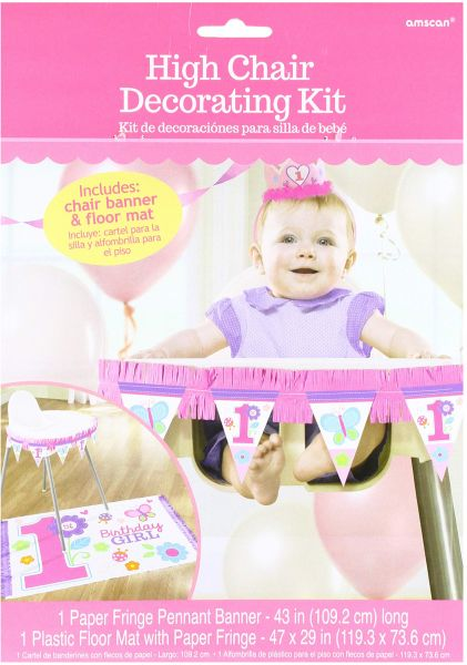 Amscan Flowers And Butterflies Girls 1st Birthday Party High Chair Decorating Kit Others Supplies 12 Pieces