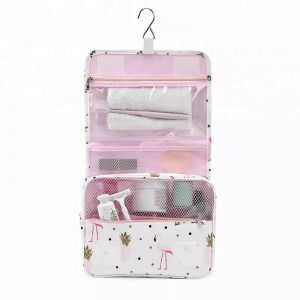 4741a95adf53 White Flamingo Hanging Hanging Travel Toiletry Bag Makeup Cosmetic Pouch