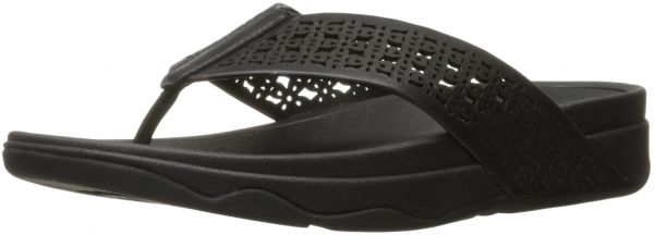 bd091135ea3868 FitFlop Women s Leather Lattice Surfa Floral Flip-Flop