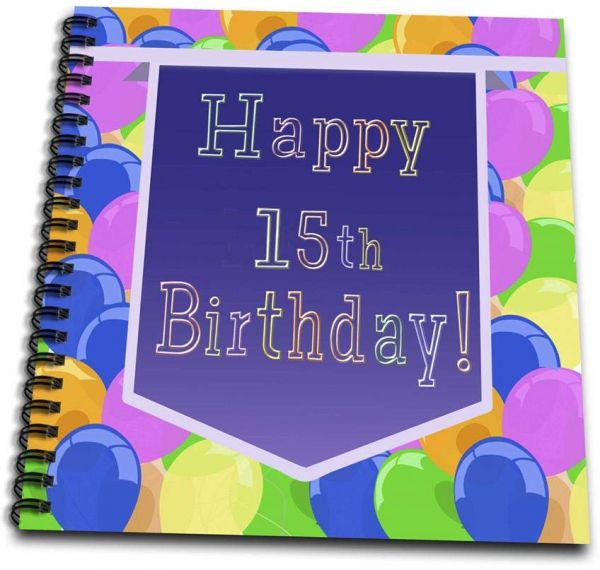3dRose Db 174804 2 Balloons With Purple Banner Happy 15th Birthday Memory Book 12 By