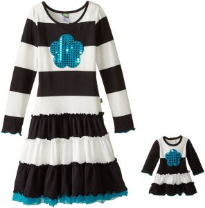 2d40db8040e05 Dollie & Me Little Girls' Knit Stripe Dress with Tulle Hem and Sequin Flower  Applique, Black/White, 5