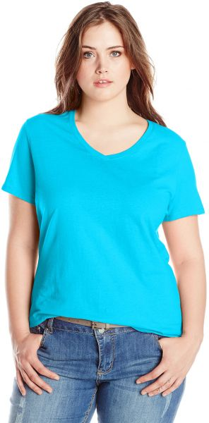 3e022f02cf9 Just My Size Women s Plus-Size Short Sleeve V-Neck Tee