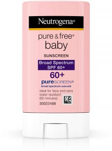 f93a6c791 Neutrogena Pure & Free Baby Mineral Sunscreen Stick with Broad Spectrum SPF  60 & Zinc Oxide, Water-Resistant, Hypoallergenic, Oil- & PABA-Free Baby ...