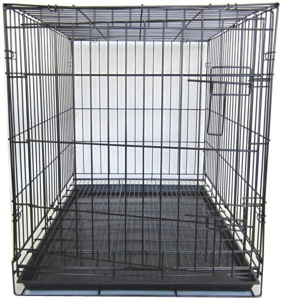 Yml 36 Inch Dog Kennel Cage With Wire Bottom Grate And Plastic Tray Black