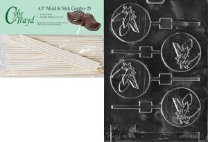 Ball Pop Chocolate Candy Mold Bundle Cybrtrayd 45StK50-S079 Baseball Bat Glove 50 Cello Bags and 50 Gold//Silver Twist Ties Includes 50 Sticks