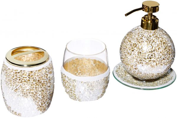 Mosaic Bathroom Accessories Set, 4 Piece Bath Accessory Sets with Gold Soap Dispenser, Toothbrush Holder, Tumbler and Ring Tray | Souq - UAE
