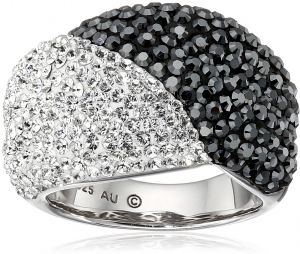 4ba97297a5d81b Sterling Silver White and Black with Swarovski Elements Ring