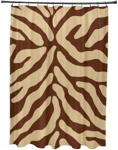 71 x 74 E by design SCAN378GY2 Inky Animal Print Shower Curtain Gray