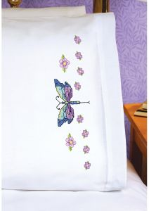 Janlynn Dragonfly Quilt Block Stamped Cross Stitch 6-Pack 18 by 18-Inch