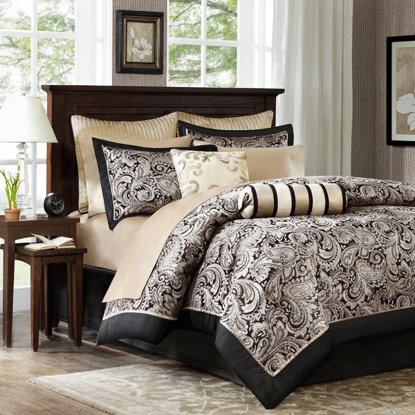 Madison Park Aubrey King Size Bed Comforter Set In A Bag Black Champagne Paisley Jacquard 12 Pieces Bedding Sets Ultra Soft Microfiber Bedroom