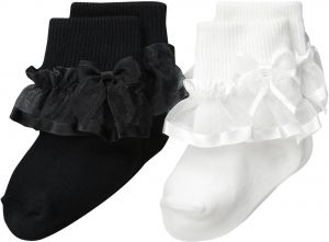 f8902a64ada trimfit Little Girls  Sheer Ribbon and Bowith Turn Cuff Socks 2-Pack