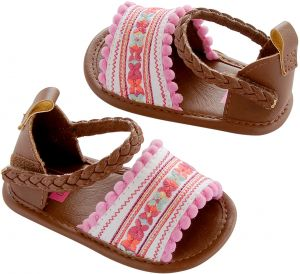 2665a4461e0e8 Carter s Girls  Baby Crib Shoe Multi-Color Embroidered Sandal