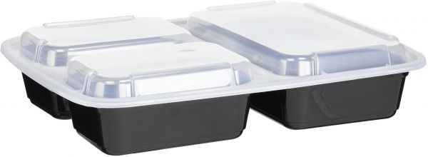 Reditainer 3 Compartment Microwave Safe Food Container With Lid Divided Plate Lunch Tray Cover Black 10 Pack