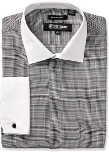 25c17b7bed6 Stacy Adams Men s Large Glen Check Classic Fit Dress Shirt