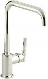 Kohler K 7507 Sn Purist Primary Swing Spout Kitchen Faucet Without Spray Vibrant Polished Nickel