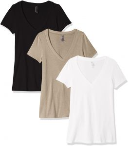 497ef0530a2 Clementine Apparel Women s Petite Plus Deep V Neck Tee (Pack of 3)