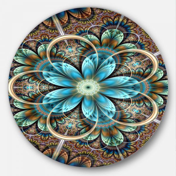 Designart Mt11920 C11 Brown Blue Fractal Flower Fl Disc Metal Wall Art Of 11 X Souq Uae