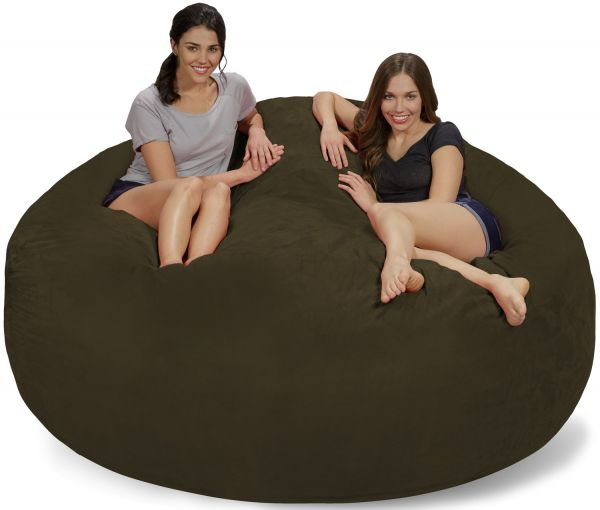 Chill Sack Bean Bag Chair Giant 7 Memory Foam Furniture Sofa With Soft Micro Fiber Cover Olive Suede