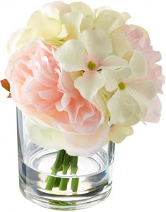 9e15b0692bc3 Pure Garden Hydrangea and Rose Floral Arrangement - Pink and Cream