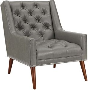 Pleasing Modway Eei 2307 Gry Peruse Upholstered Fabric Modern Tufted Accent Arm Chair With Nailhead Trim Faux Leather Gray Inzonedesignstudio Interior Chair Design Inzonedesignstudiocom