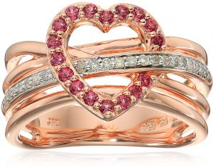 080b436fb Rose Gold Plated Sterling Silver Crisscross Heart Rhodolite Diamond Ring,  Size 8