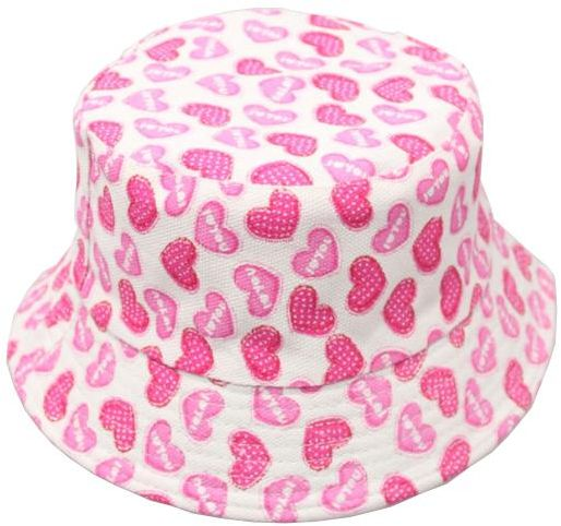 c68904ef9 2-6 Years Baby Bucket Sun Protection Hat Kids Sun Hat Breathable Cotton  Pink Heart