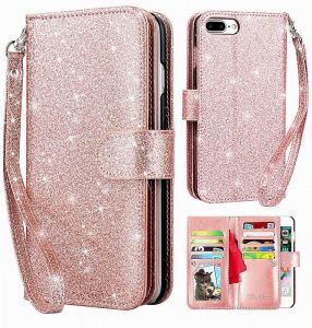 iPhone 8 Plus Wallet Case, iPhone 7 Plus Wallet Case Glitter Shiny Bling Credit Cash Slot Folio Style Holder Magnetic Closure Leather Wallet Cover for apple ...