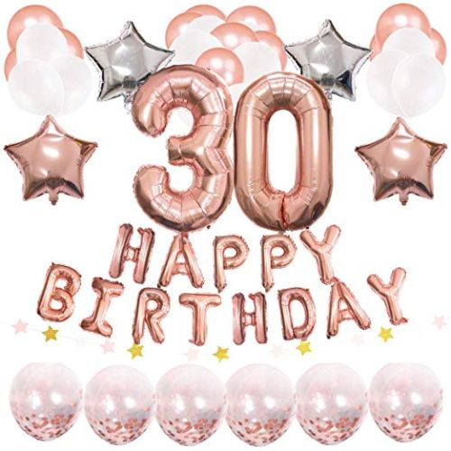 Foil Happy Birthday Banner 40 Number 30 Balloons Star Garland Confetti Latex And Mylar