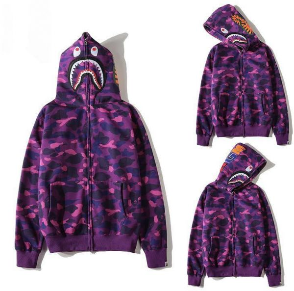 2083ac192a3a Bape Shark Purple Classic Pullover Hoodie Unisex Hooded Sweatshirt For Men  And Women