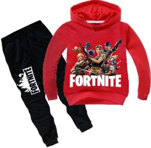 1b6bd41f1 2 piece set 3D digital printing Fortnite printing fashion long sleeve round  collar hoodie pants children cotton clothing Suit