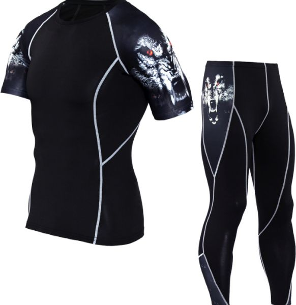 dedc990618f White wolf print Jersey suit Short sleeve T-shirt riding bicycle men outdoor  Cycling sportswear suit