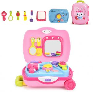 8e215f4ec43352 Beauty Salon Kids Cosmetic Toys Set for Toddler Girls is Encased in a  Makeup Suitcase Consist of Dryer