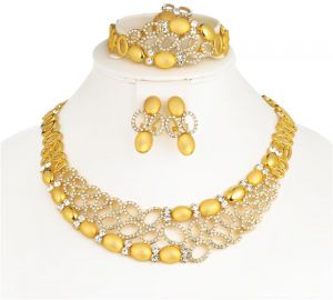 CWEEL Women Jewelry Sets Wedding Fashion Flower Gold Color African Beads Vintage Party Statement Big Necklace Accessories