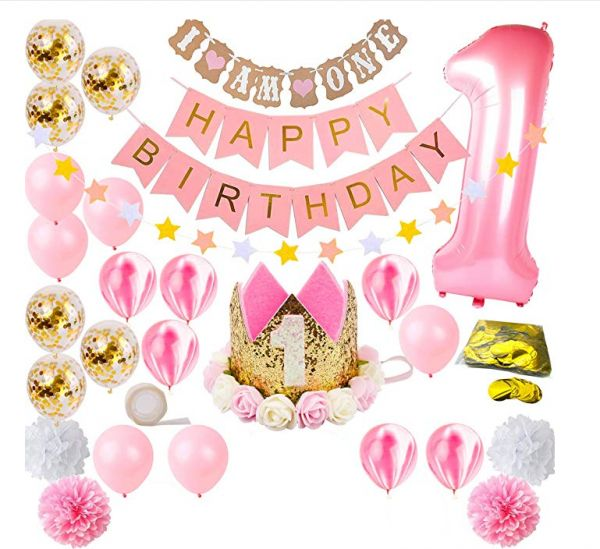 Party Decorations Supplies 1st Birthday For Girl Pink And Gold Girls Theme Kit Set