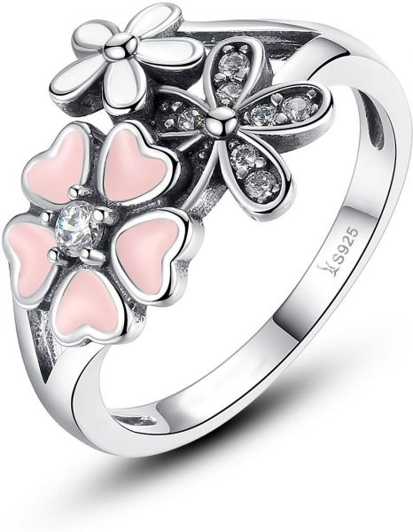 Enement Rings Sterling Silver | Sterling Silver Rings For Women Cherry Blossom Ring For Girls Teen