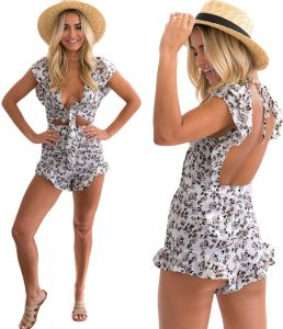 af3c45614eb3 Floral Print V-Neck Tie Front Cut Out Ruffle Backless Casual Playsuit