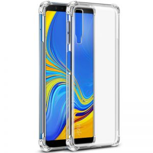 Samsung A7 - 2018 / A750 Anti-Burst KING KONG Armor Case Crystal Clear With Transparent Hard Plastic Back Plate and Soft TPU Gel Bumper