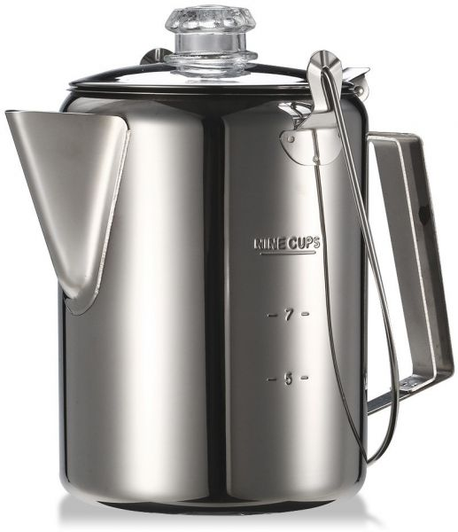 Outdoor 9 Cup Stainless Steel Percolator Coffee Pot Coffee Maker For