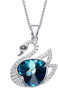 c9e48dc8f Crystals from Swarovski Necklace Women Necklace Chain Crystal Pendants  Silver Jewelry Blue Simple Swan Shape