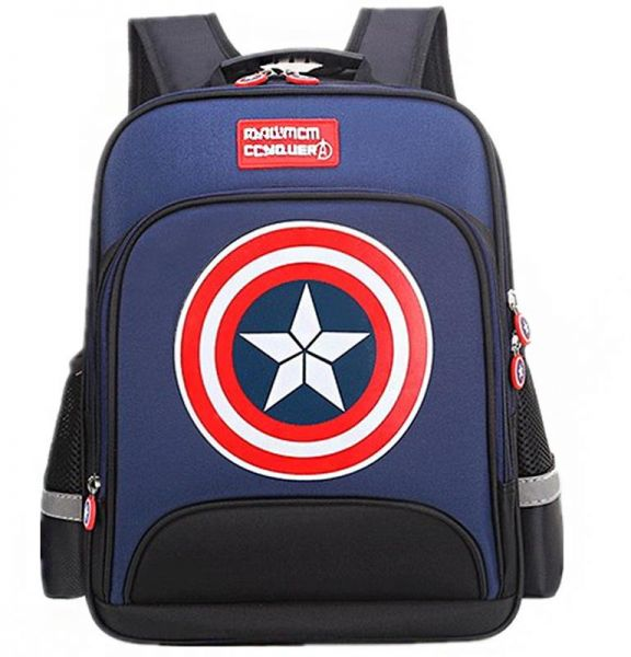 4148f10a678a Large Marvel American Captain s Schoolbag with Glittering light Primary  School Boys Backpack Children s Reduced Shoulder Bag Small