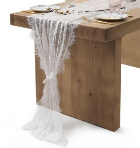 White Lace Table Runner Rustic Wedding Reception Table Decor