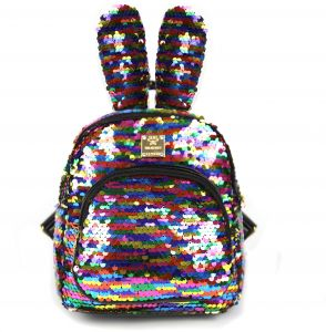 cbe6f4dcc843 Slovey Mermaid Sequins Kids Backpack with Cute Bunny Ear Small Shoulder Bag  Fashion Mini Bag