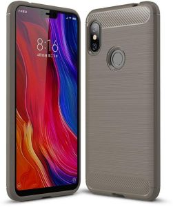 Redmi Note 6 case, Ultra Light Carbon Fiber Armor Shockproof Brushed Silicone Grip Case for Xiaomi Redmi Note 6/Note 6 Pro -Gray