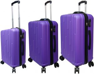eb76c129b31d HighFlyer Hills 3 Pc Hard Trolley Smart Luggage With Weighing Scale Luggage  Bag Set - Purple