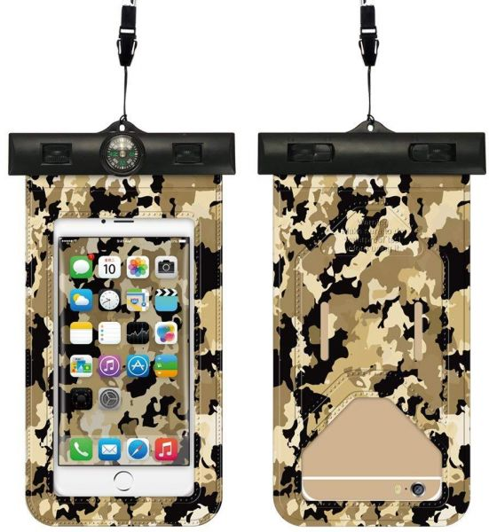 Waterproof Phone Case with Compass IPX8 Camouflage Cellphone Waterproof Dry  Bag Pouch for iPhone X/8/8plus/7/7plus/6s/6/6s Plus Samsung Galaxy