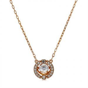 10eb27686 Swarovski Women's Rose Gold Plated Sparkling Dance Round Necklace - 5272364
