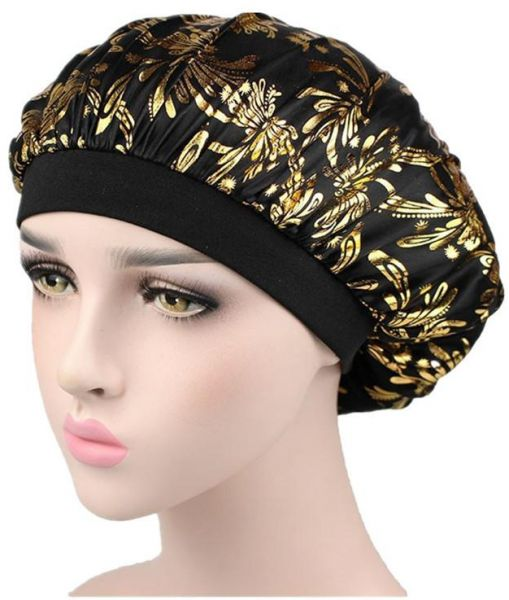33bc10a717c Luxury Flower Printed Wide Band Satin Bonnet Cap Comfortable Soft Night  Sleep Hat Hair Loss Cap Slouchy Chemotherapy Headwear