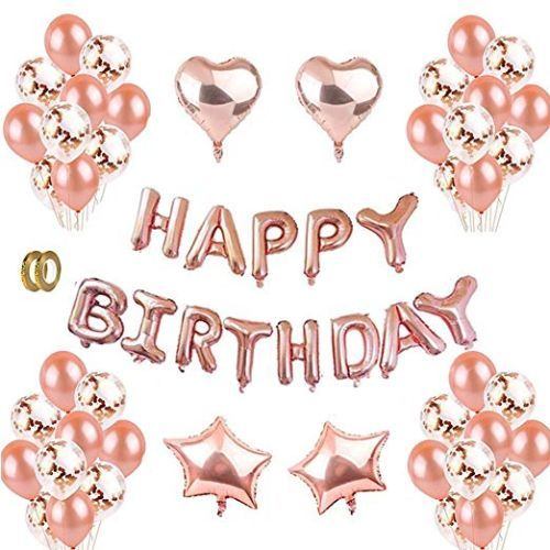12 Latex Rose Gold Happy Birthday Balloons Kit Decorations Balloon Letters Banner Letter Heart Foil Party Supplies GirlKids